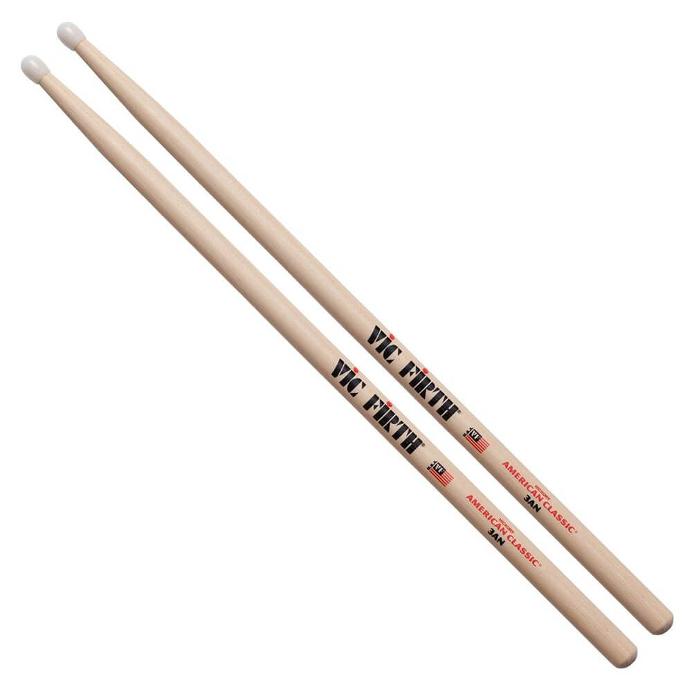 Vic Firth American Classic 3AN Hickory Wood Drum Stick, Nylon Tip