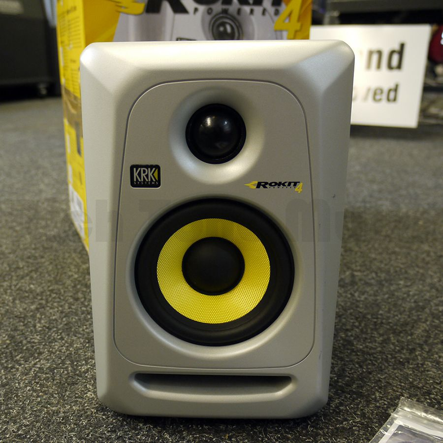 krk rokit 4 g3 powered studio monitor silver w box ex demo rich tone music. Black Bedroom Furniture Sets. Home Design Ideas