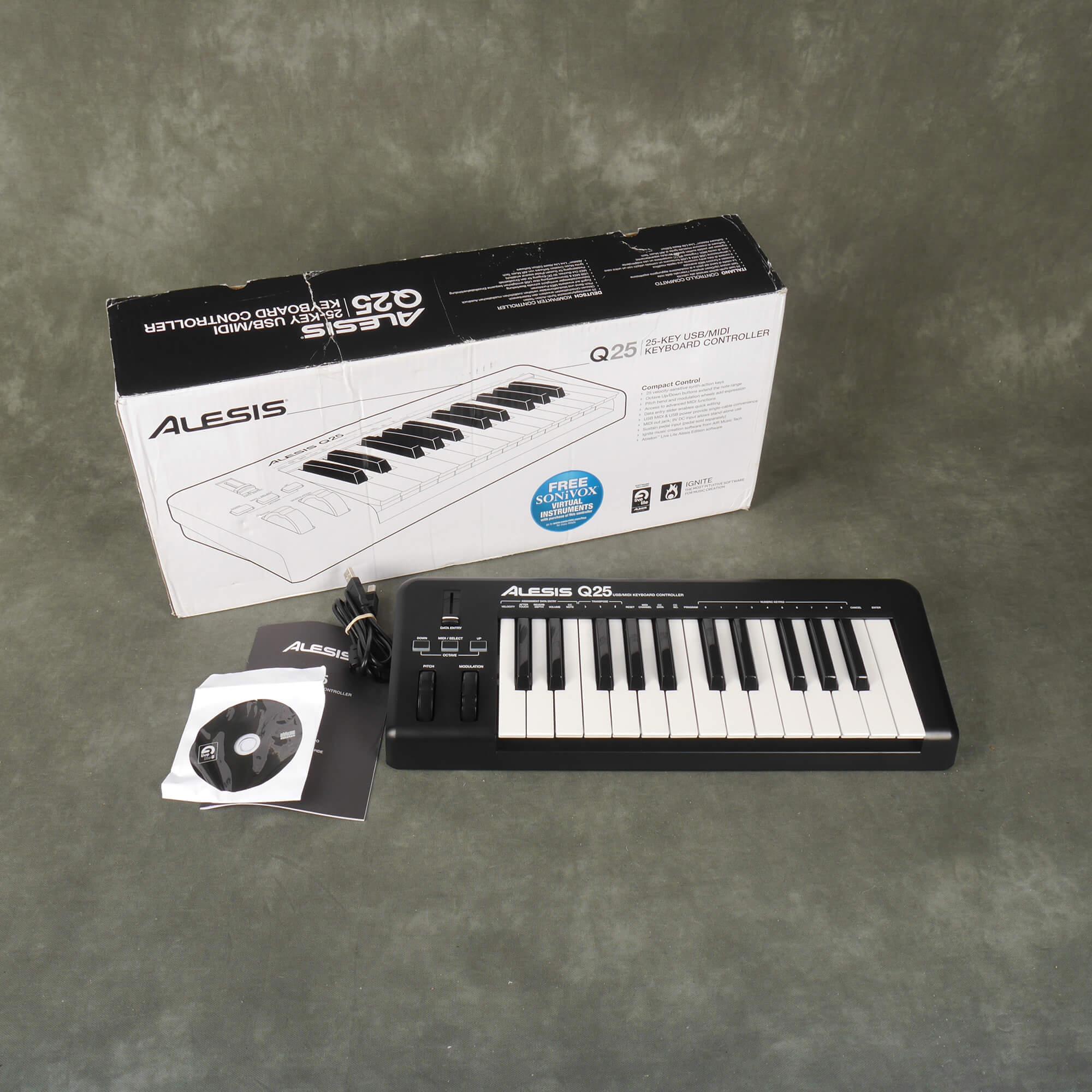 Alesis Q25 USB/MIDI Keyboard Controller w/Box & PSU - 2nd Hand