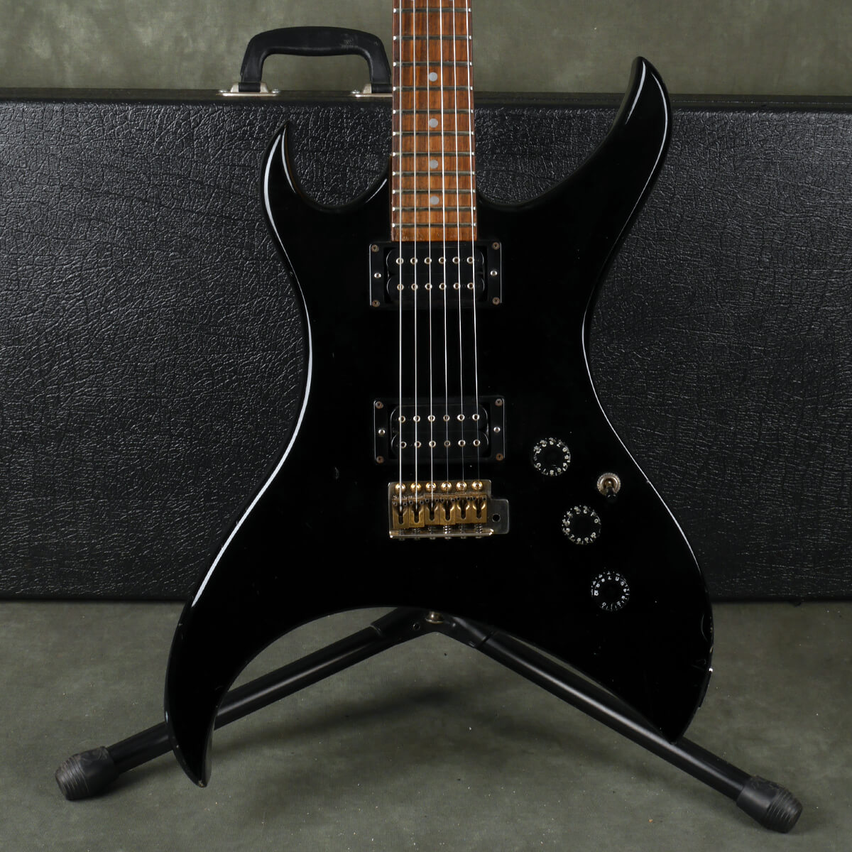 Aria Urchin Electric Guitar - Black w/Hard Case - 2nd Hand