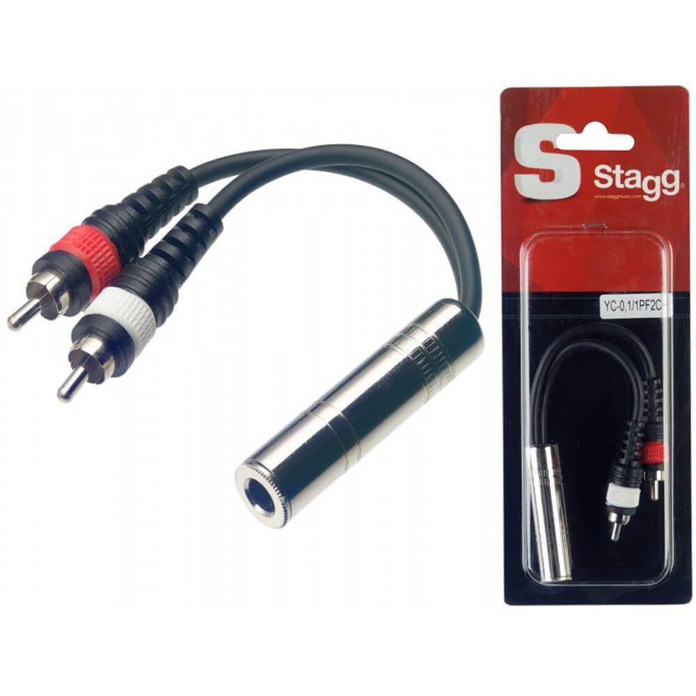 Stagg YC-0,1/1PF2CH 1 X Female Mono Jack / 2 X Male RCA Plug Adaptor
