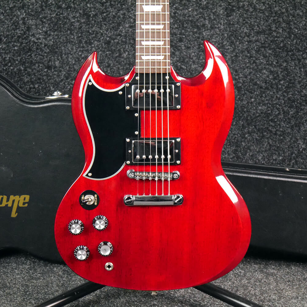 epiphone sg g 400 left handed cherry red w hard case 2nd hand rich tone music. Black Bedroom Furniture Sets. Home Design Ideas