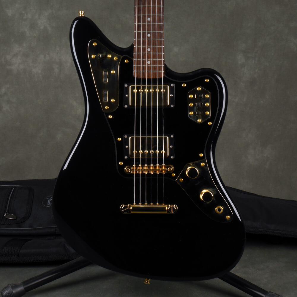 Fender MIJ Jaguar Special HH - Black, Gold Hardware w/Gig Bag - 2nd Hand