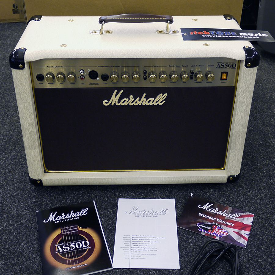 marshall as50d acoustic ivory amplifier w box 2nd hand rich tone music. Black Bedroom Furniture Sets. Home Design Ideas