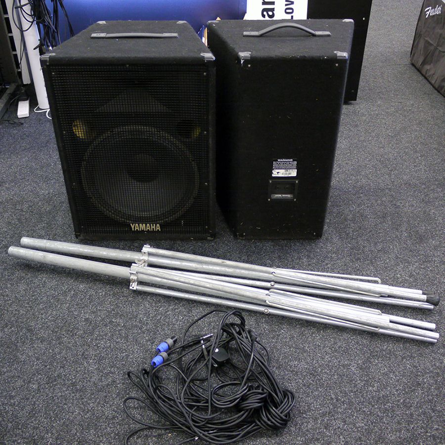 Yamaha S15E Passive Speaker Pair w/ Stands and Leads - 2nd Hand
