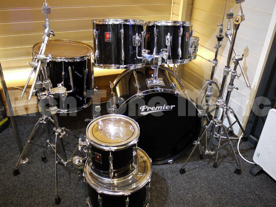 premier apk 6 piece drum kit w kick hardware black 2nd hand rich tone music. Black Bedroom Furniture Sets. Home Design Ideas