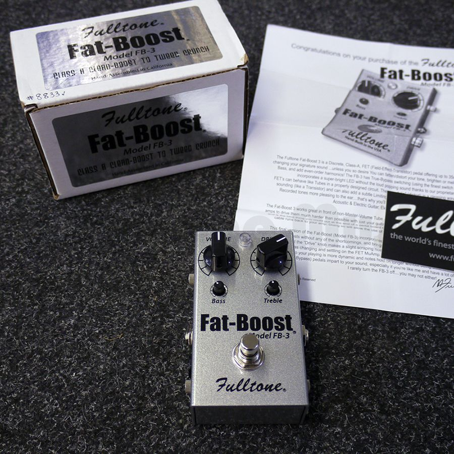 fulltone fat boost fb 3 fx pedal w box 2nd hand rich tone music. Black Bedroom Furniture Sets. Home Design Ideas