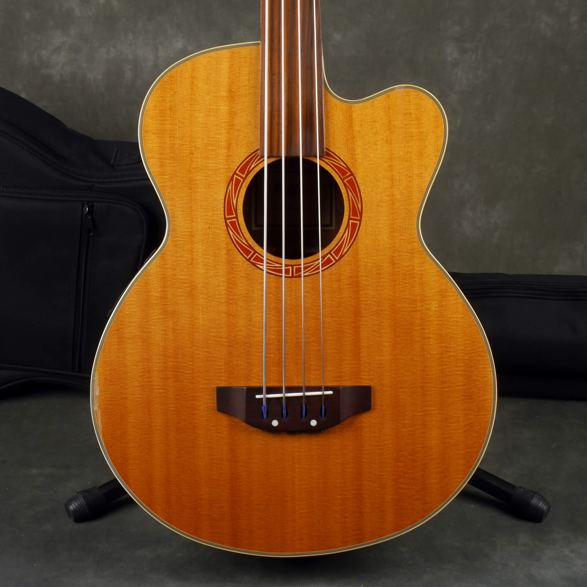 Ashbury GR5649 Fretless Electro-Acoustic Bass - Natural w/Gig Bag - 2nd Hand