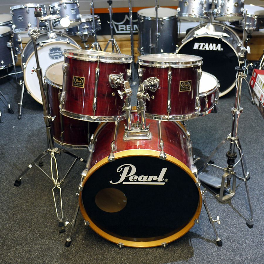 pearl export exx drum kit red w stands pedal 2nd hand rich tone music. Black Bedroom Furniture Sets. Home Design Ideas