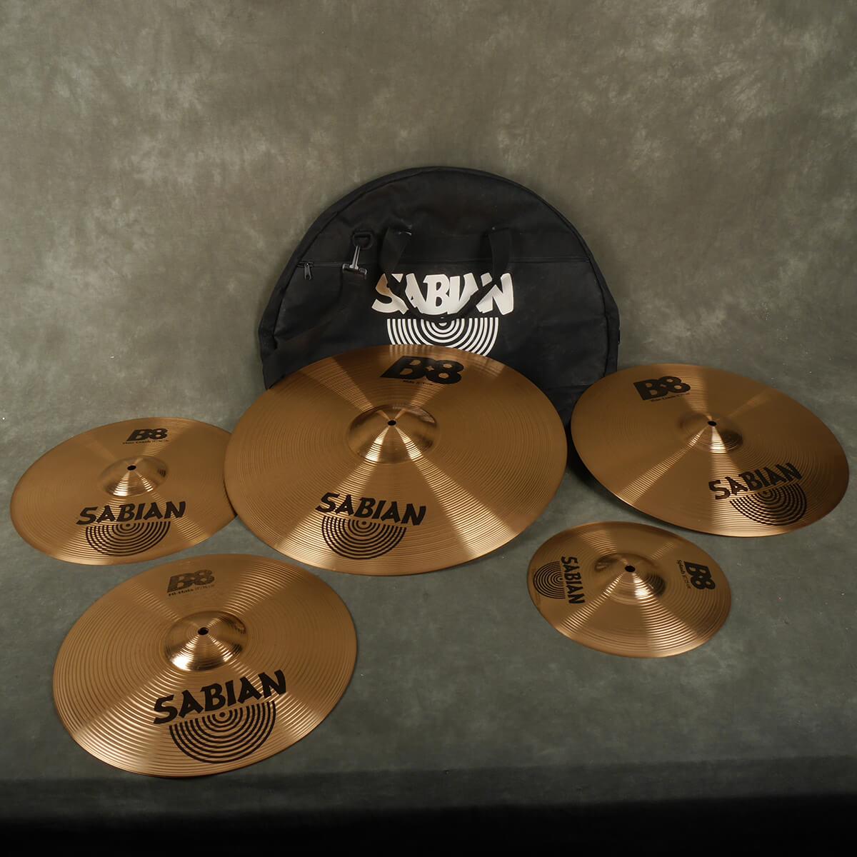 Sabian B8 Cymbal Set - 10-14-14-16-20 inch w/Gig Bag - 2nd Hand