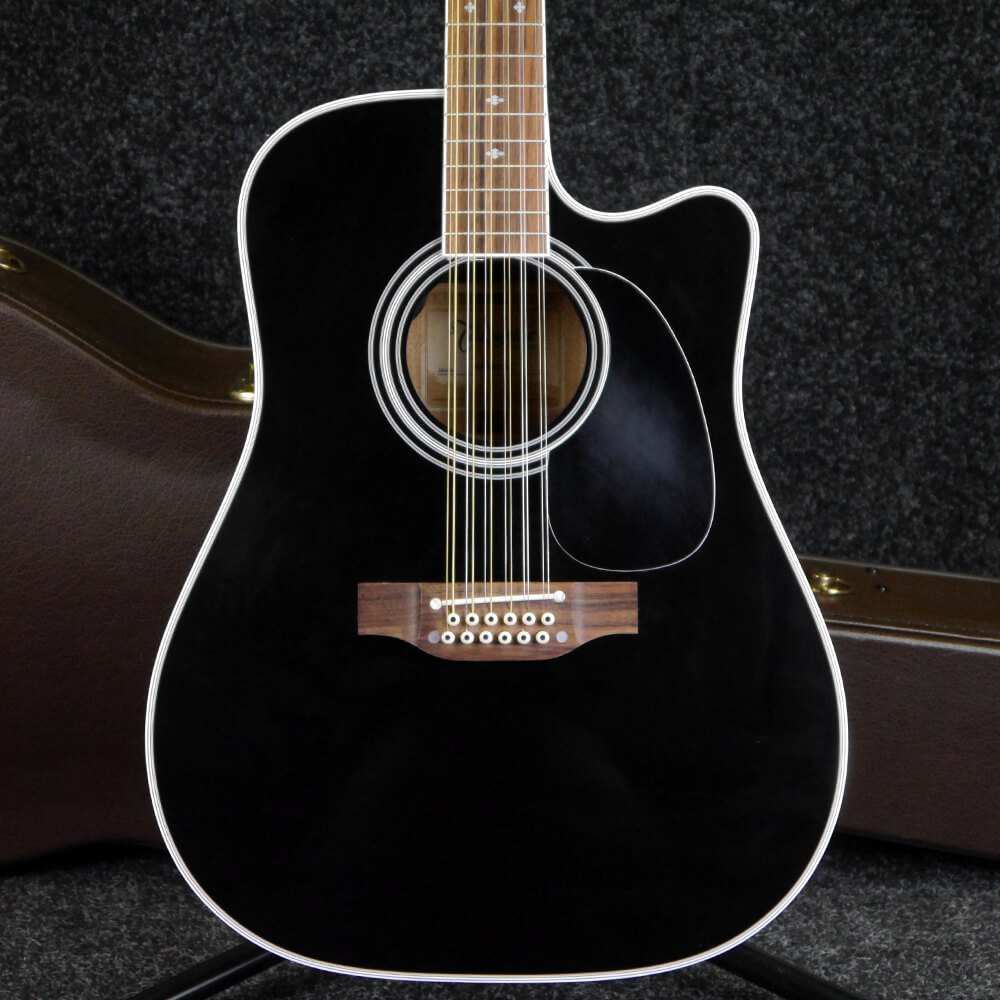 Takamine EF381SC 12 String Electro Acoustic - Black Gloss w/Hard Case - 2nd Hand