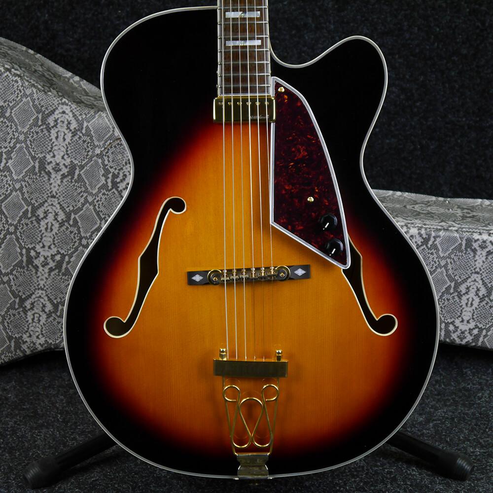 Vintage Semi Hollow Electric Guitar - Sunburst w/Hard Case - 2nd Hand