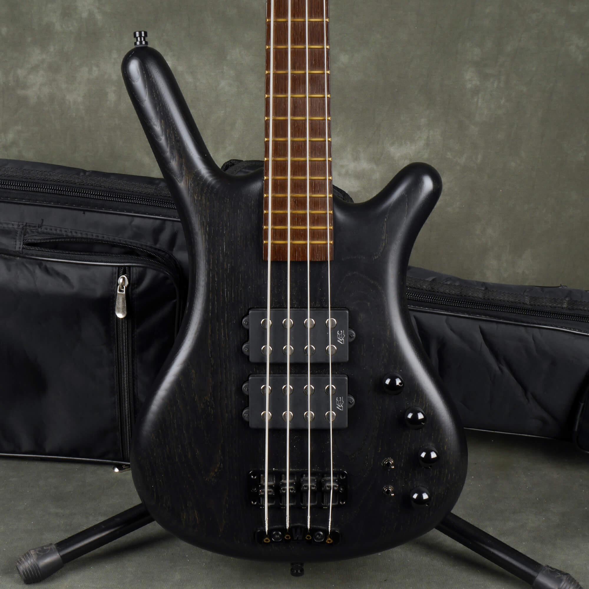 Warwick Double Buck Corvette $$ Bass Guitar - Trans Black w/Gig Bag - 2nd Hand