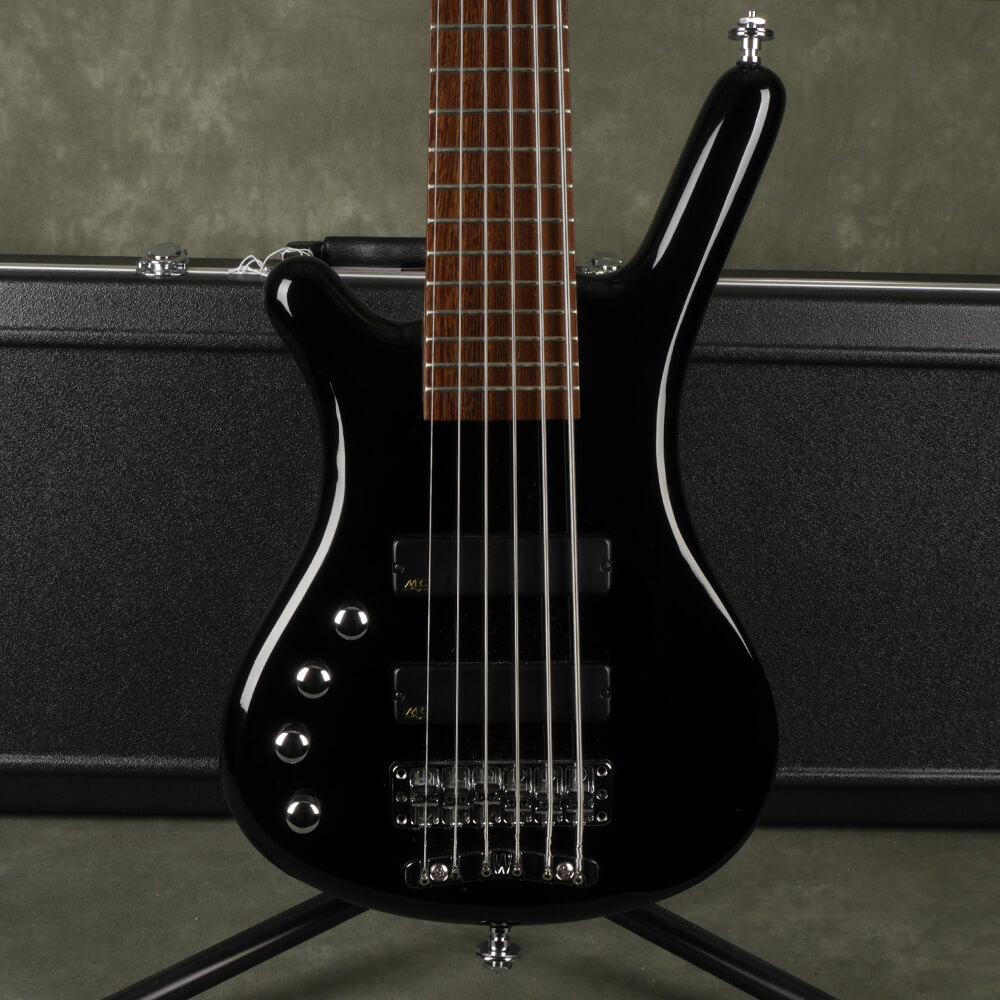 Warwick Corvette 6-String Bass Guitar, Left Handed - Black w/Case - 2nd Hand