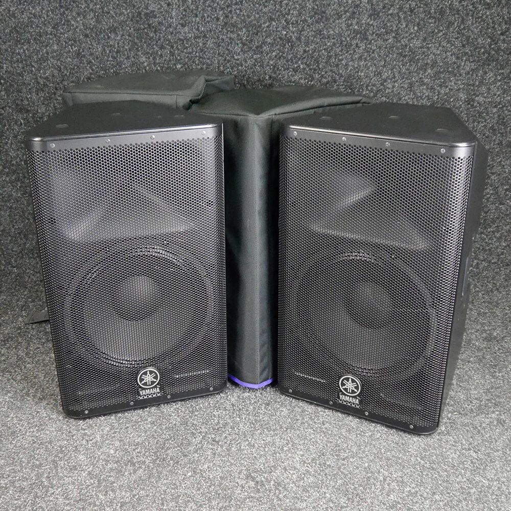Yamaha DXR12 Active PA Speaker, Pair w/Cover - 2nd Hand